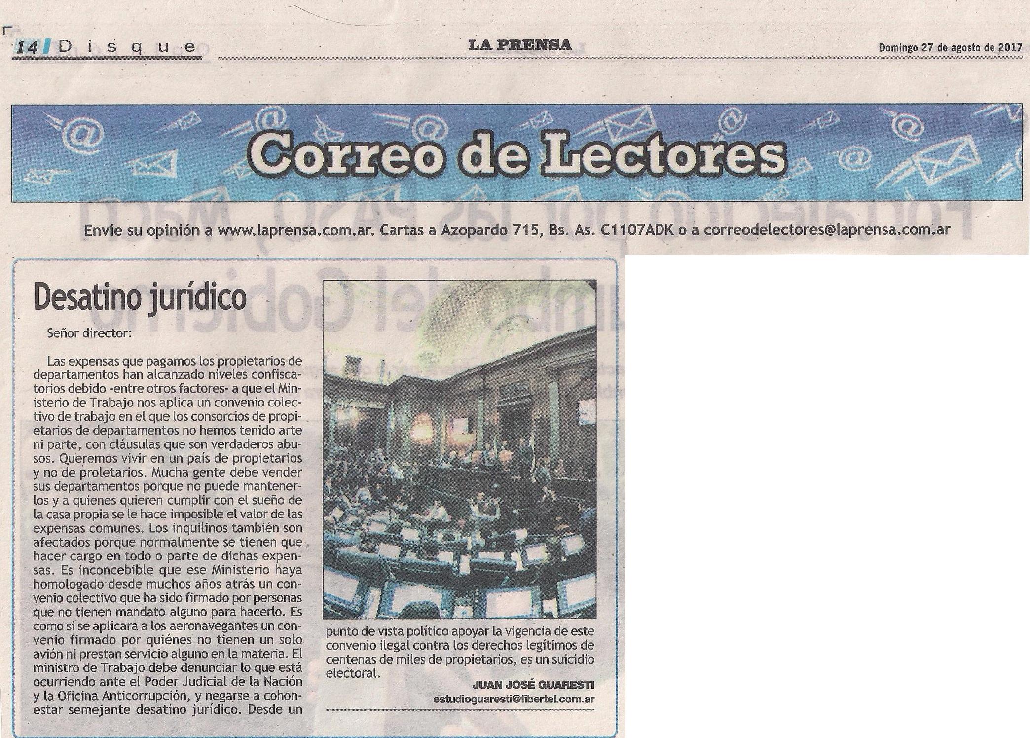 Carta de lectores publicada en La Prensa